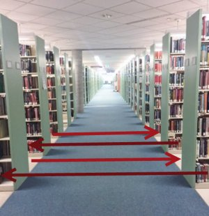 Books are shelved in a zig-zag pattern