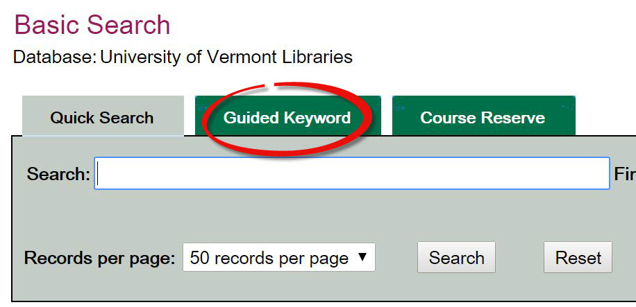 Select the Guided Keyword tab in the Classic Catalog
