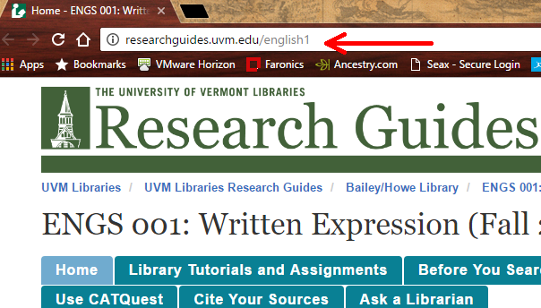 URL of a Class Research Guide