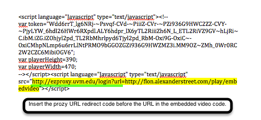 Embed code showing proper placement of ezproxy information