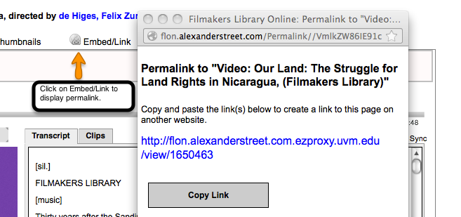 Stable URL at Filmaker's Library Online