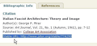 Example of a stable URL in JSTOR