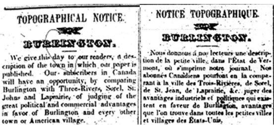 Extract from a bilingual article: Notice topographique/ Topographical notice about Burlington, 4 Septembre 1839.