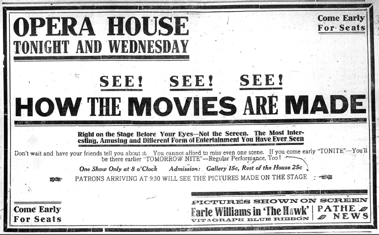 An advertisement for a play about how movies are made from September 11, 1917 in the Bennington Evening Banner.