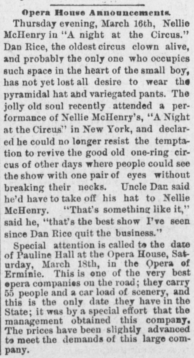 Opera House Announcement of upcoming shows from March 10, 1893 in the Bennington Banner.