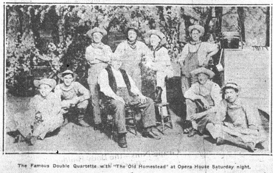 """The cast of """"The Old Homestead,"""" a play about a rural farmer who leaves to go in search of his son who has left for the city. Printed in the Bennington Evening Banner, August 11, 1921."""