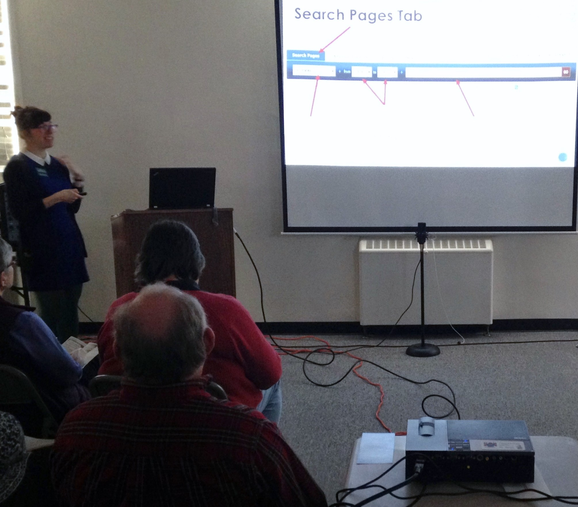 Pictured: Karyn Norwood, Digital Support Specialist, talking about the basics of Chronicling America.