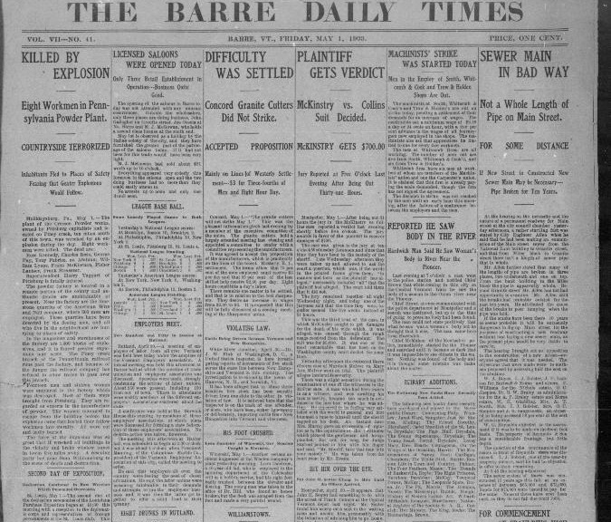 barre daily times first issue 1903