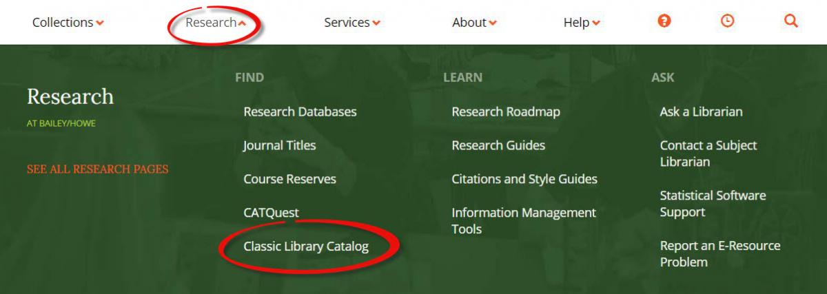 Find a link to the Classic Catalog in the Research menu