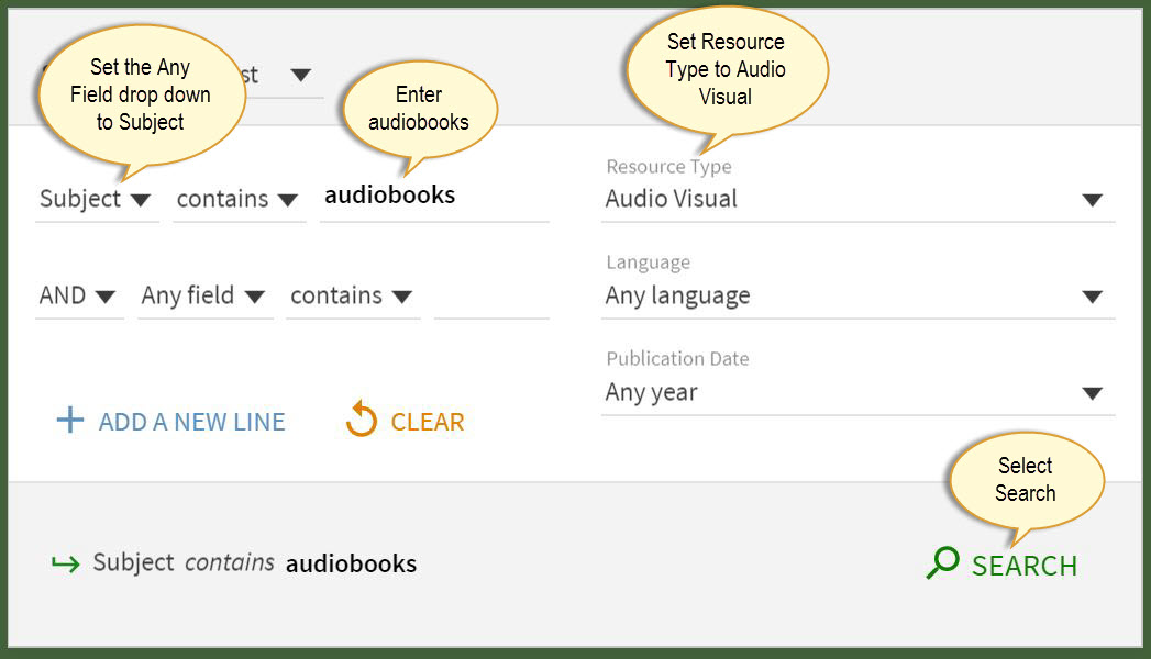 Advanced search screen showing search. Subject is audiobooks and Resource Type is audio visual.