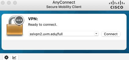 Cisco AnyConnect VPN connect screen showing sslvnp2.uvm.edu/full address.