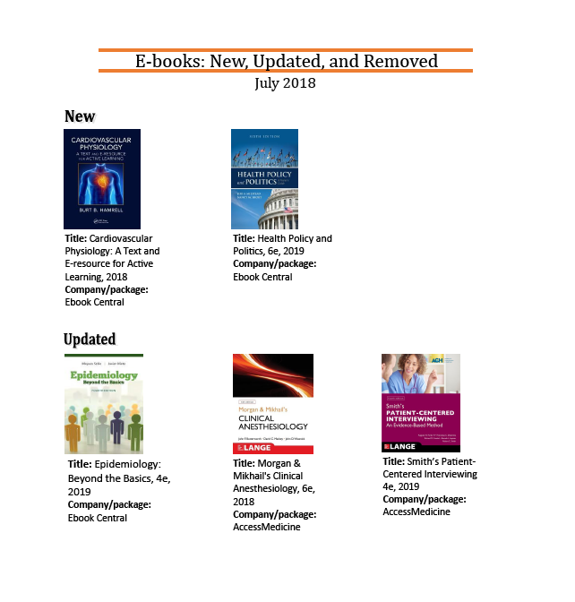 Dana has New and Updated E-books for July!   Dana Medical Library