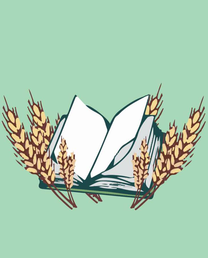Drawing of open book, surrounded by sprigs of wheat, on a light green background