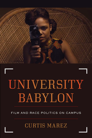 Woman seated in wicker chair with old-fashioned film camera, cover of University Babylon